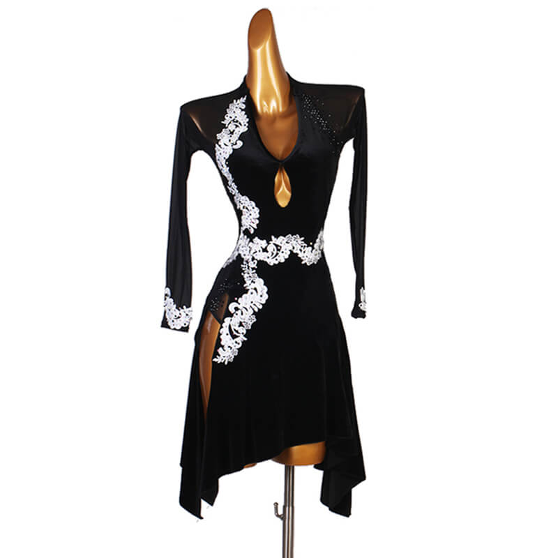 Deep V Neck Jewelled Latin Dress with Rhinestones