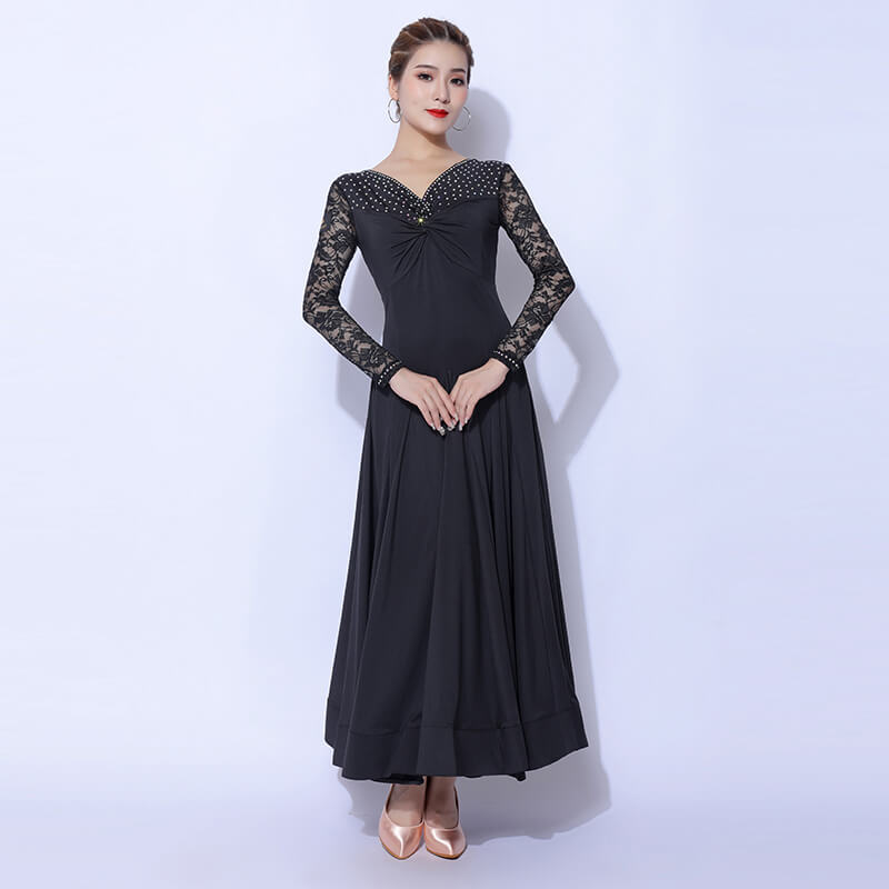 Deep V Neck Long Sleeve Ballroom Dress with Lace