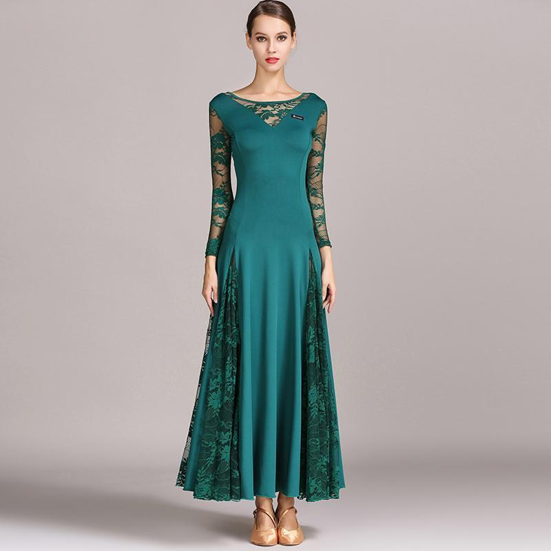 Emerald lace ballroom dress