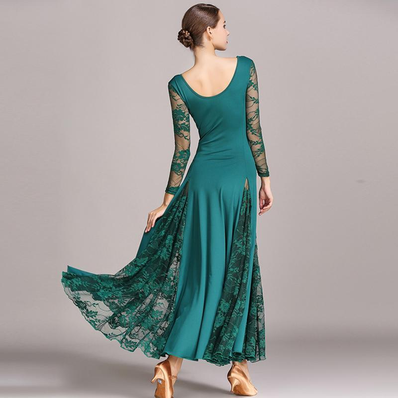 Emerald lace ballroom dress back
