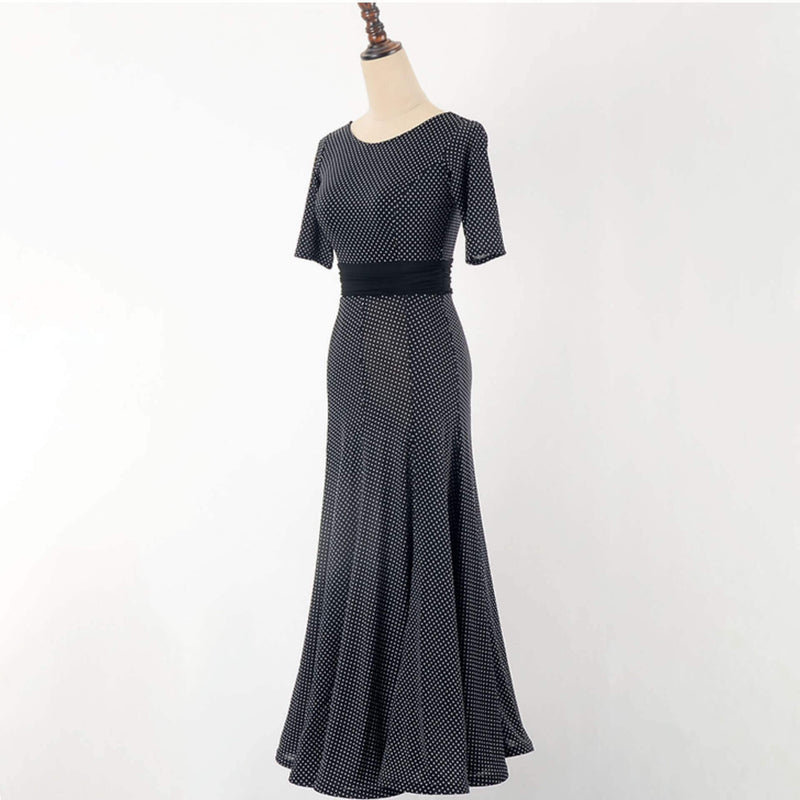 Flared Crew Neck Half Sleeve Ballroom Dress
