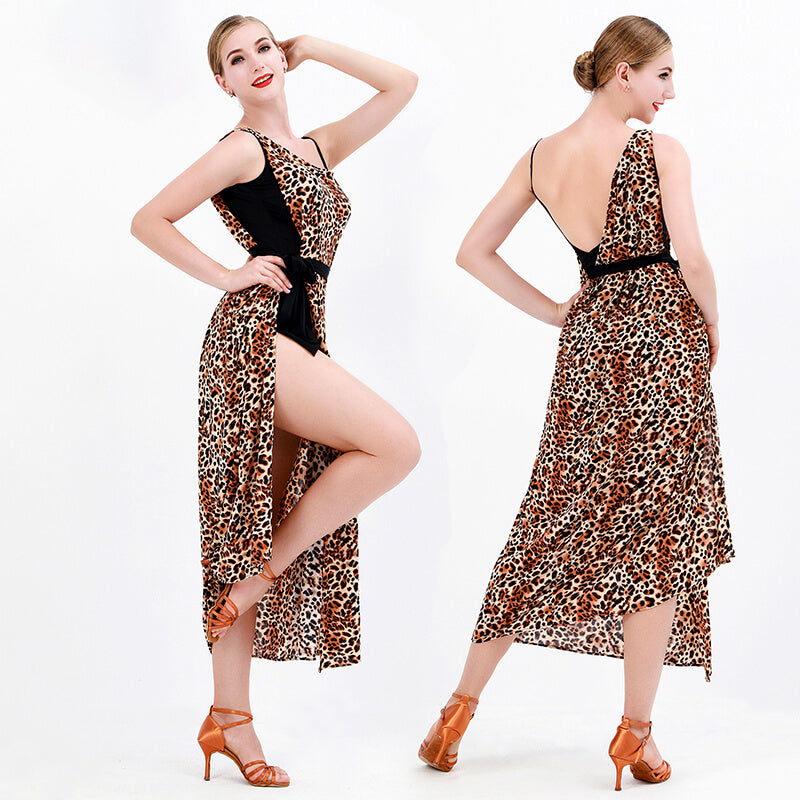 Flared Leopard Print Spaghetti Strap Latin Dress