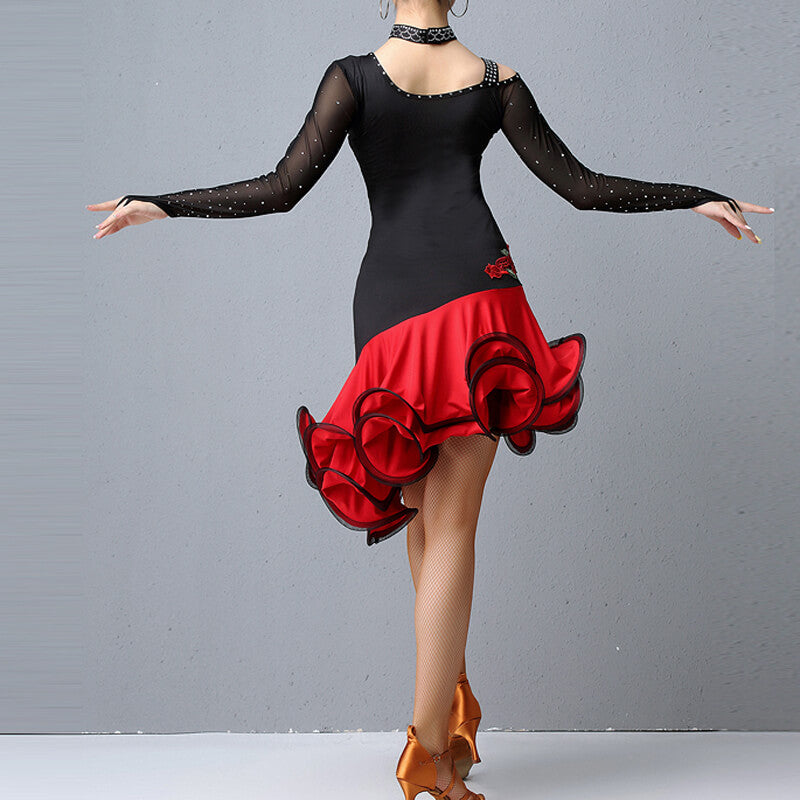 Flared Knee-Length Latin Dress with Embroidery