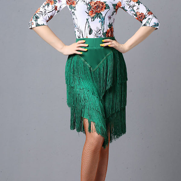 Flared Latin Skirt with Tassels