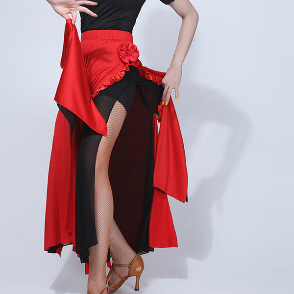 Flared Long Latin Skirt with Mesh