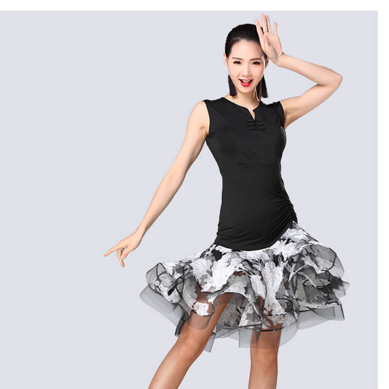 Flared Patchwork Knee-Length Latin Dress