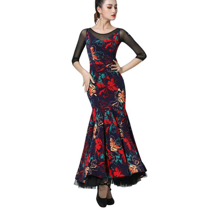 Flower Print Multicolor Ballroom Dress with Mesh