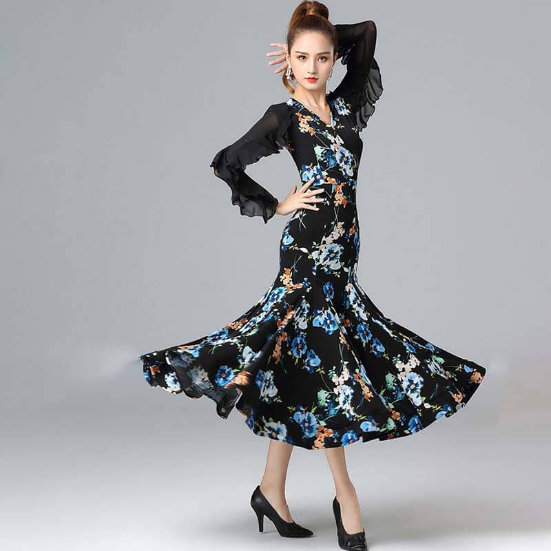 Flower Print Ruffle Sleeve Ballroom Dress with Mesh