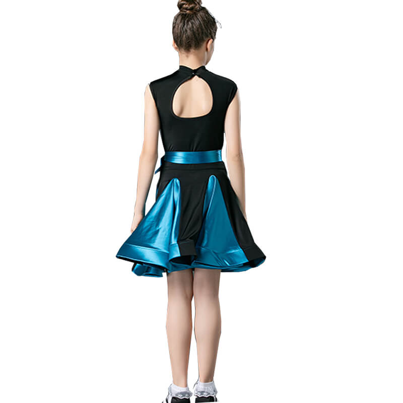 Girls A-Line High Neck Sleeveless Dress