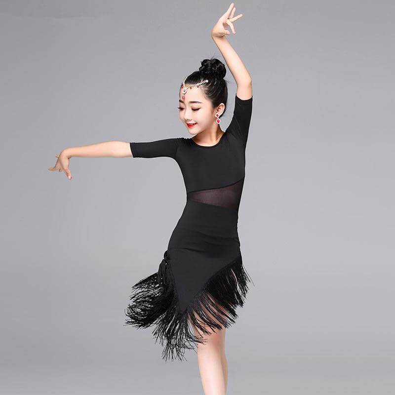 Girls Latin Dance Dresses black