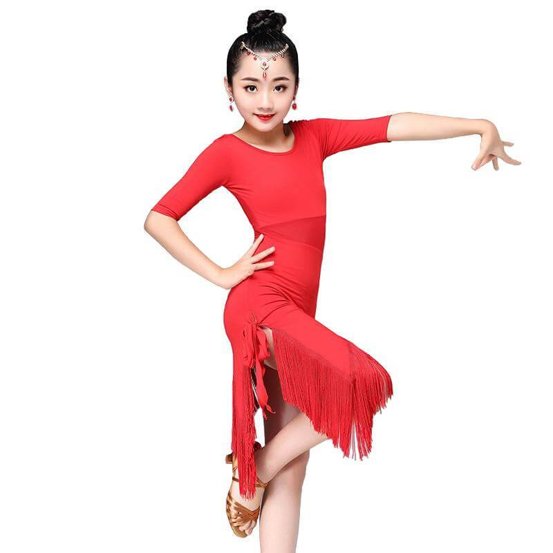 Girls Latin Dance Dresses red