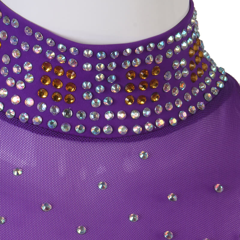 High Neck Jewelled Ballroom Dress with Mesh