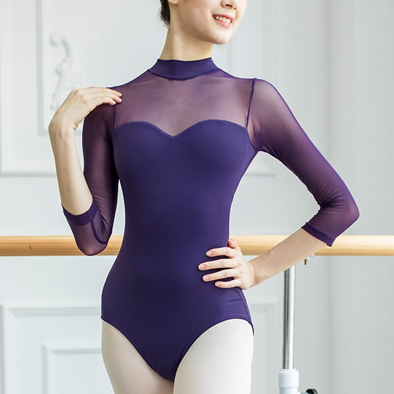 High Neck 3/4 Length Sleeve Ballet Leotard