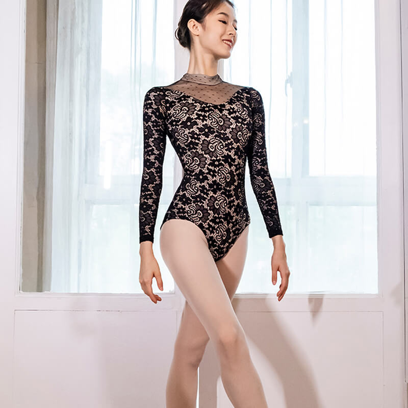 High Neck Long Sleeve Ballet Leotard with Lace