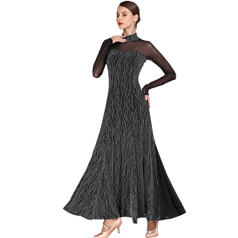 High Neck Long Sleeve Ballroom Dress with Mesh