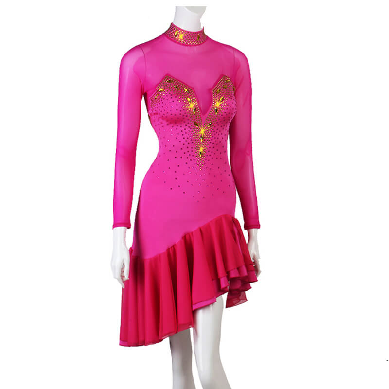 High Neck Long Sleeve Latin Dress with Rhinestones