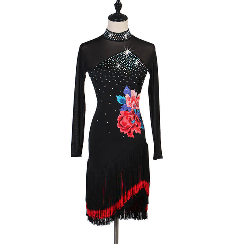 High Neck Long Sleeve Latin Dress with Tassels