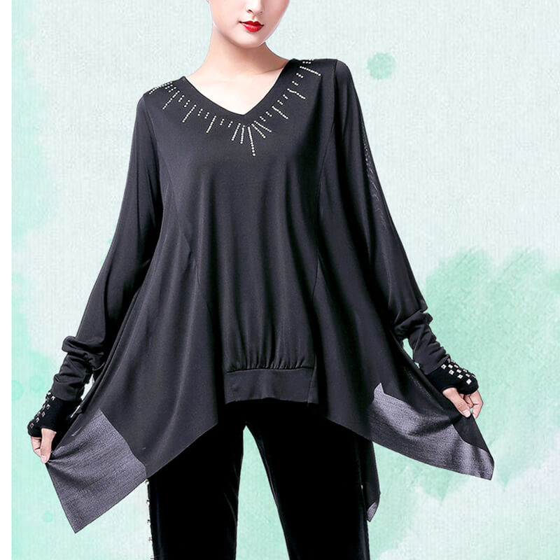 Jewelled Batwing Sleeve Latin/Ballroom Top