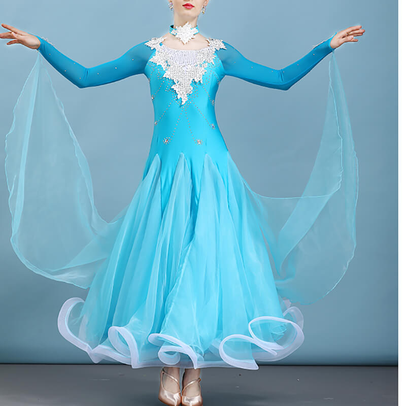 Jewelled Long Sleeve Ballroom Dress with Ribbons