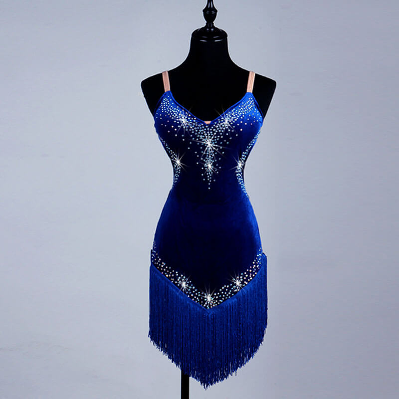 Jewelled V Neck Latin Dance Dress-Blue
