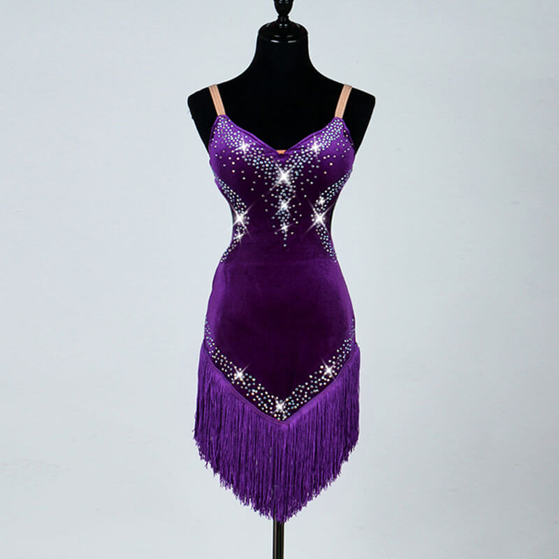 Jewelled V Neck Latin Dance Dress-Purple