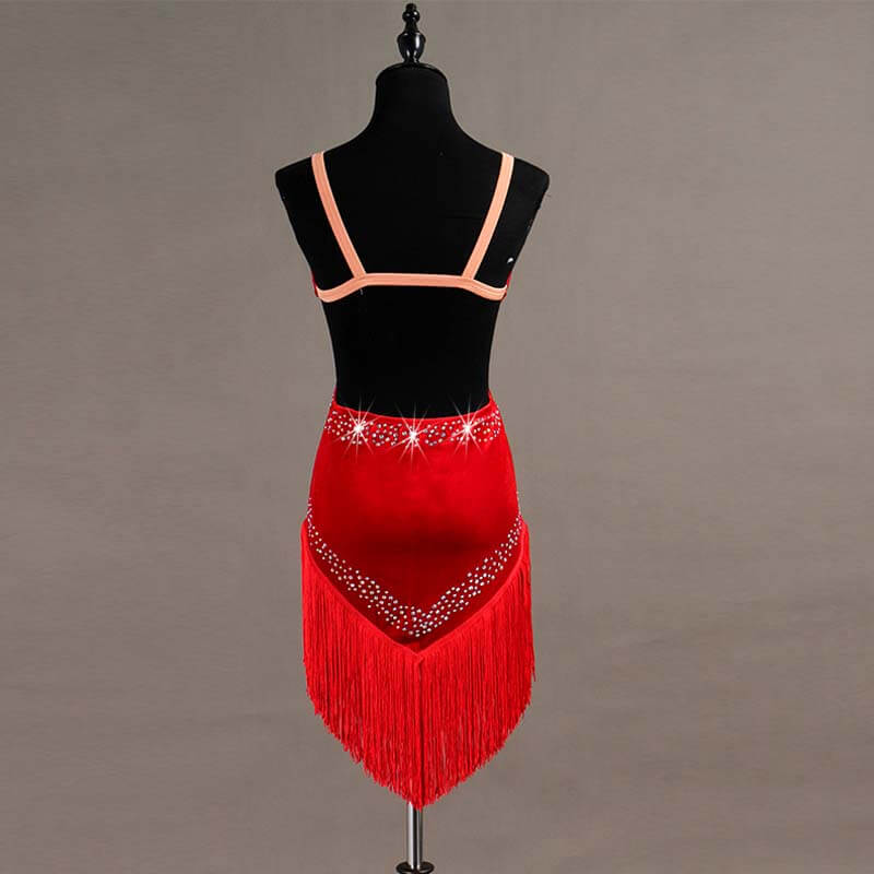 Jewelled V Neck Latin Dance Dress-Red