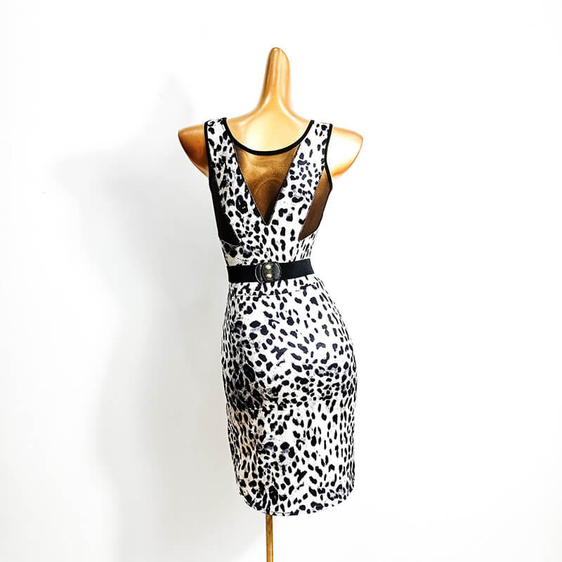 Leopard Latin Dress with Mesh