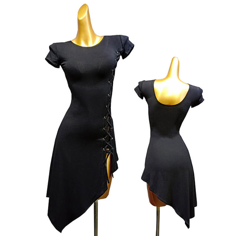Asymmetric Boat Neck Short Sleeve Dress