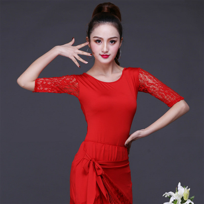 Round Neck Elbow Sleeve Latin Top with Lace