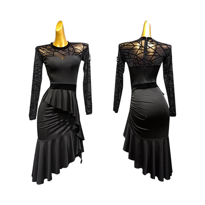 Round Neck Elegant Latin Dress with Ruffles