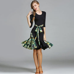 Flared Short Latin Dress with Ruffles