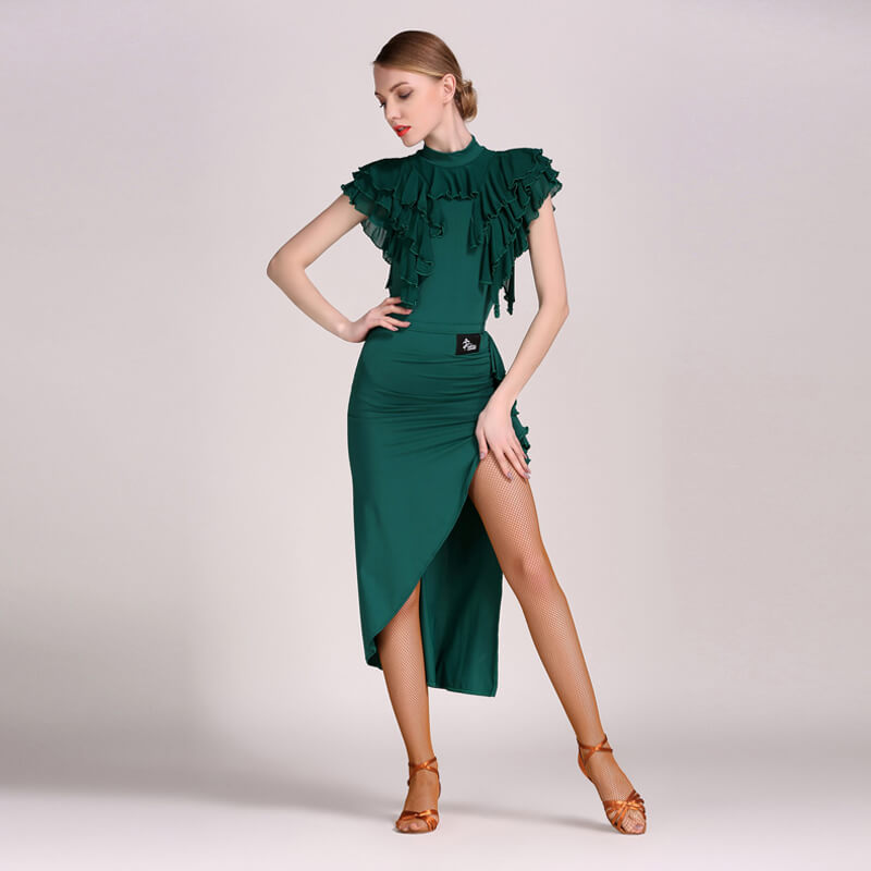 Round Neck Ruffle Sleeve Latin Dress (Leotard + Skirt)