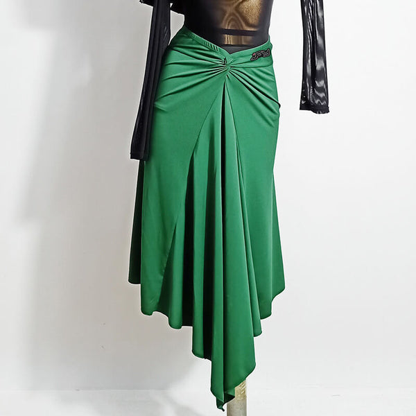 Asymmetric Calf-Length Latin Skirt