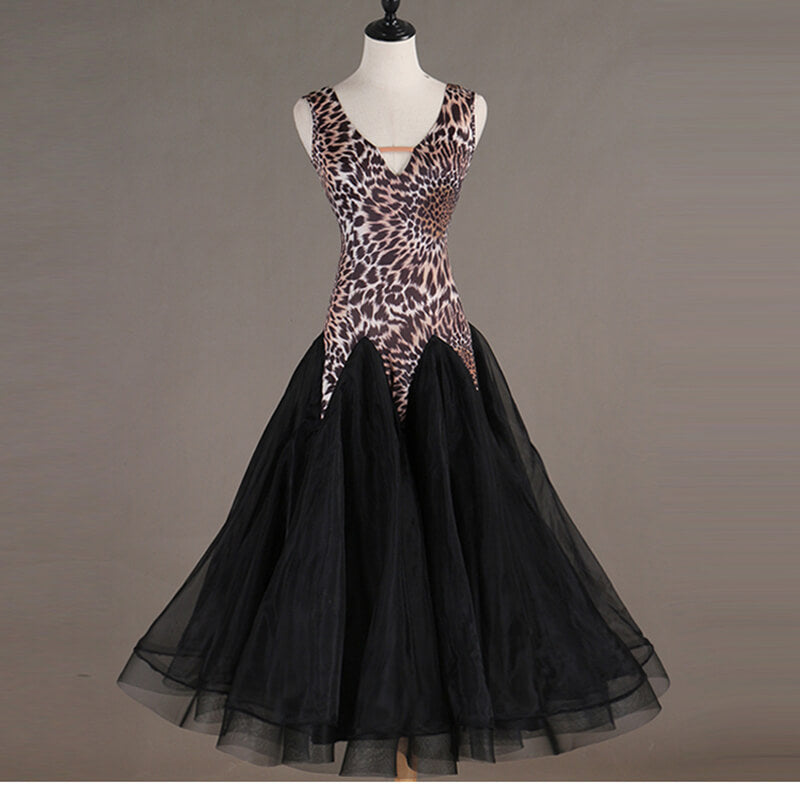 Leopard Print Sleeveless Ballroom Dress with Mesh
