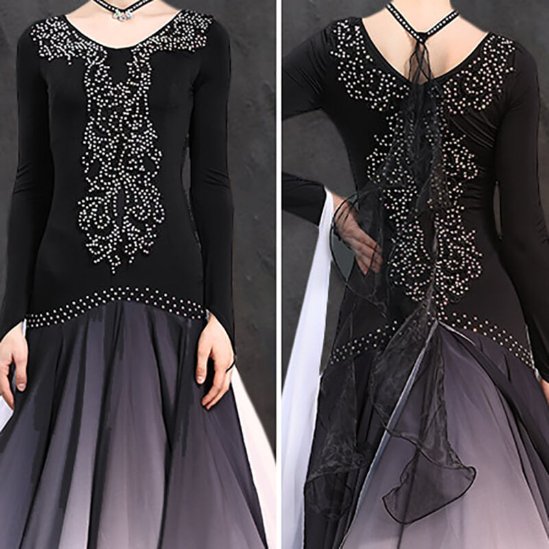 Long Jewelled Ballroom Dress with Lace