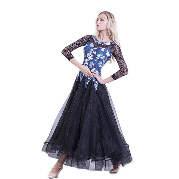 Long Sleeve A-Line Maxi Ballroom Dress-Blue
