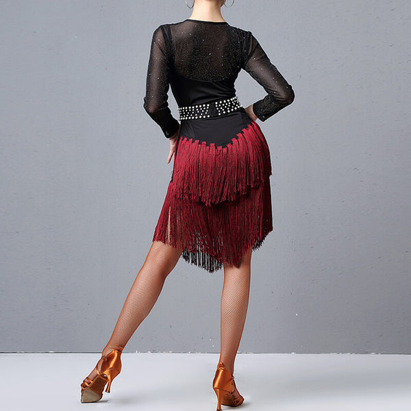 Long Sleeve Knee-Length Latin Dress with Tassels