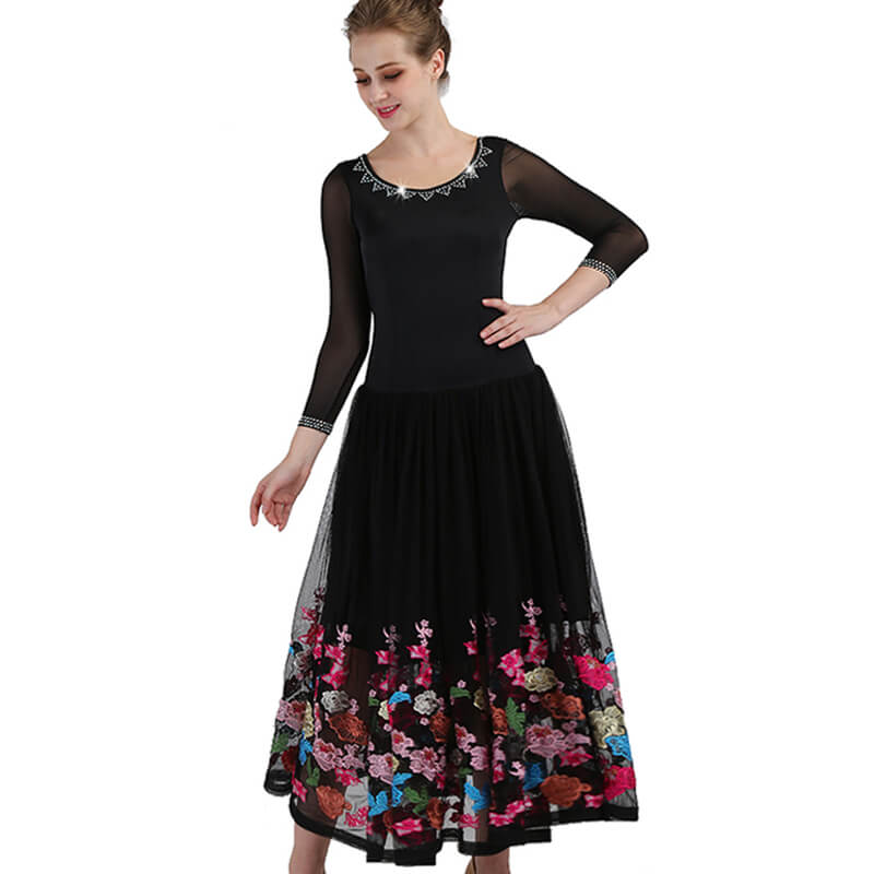 Maxi A-Line Ballroom Dress with Flowers