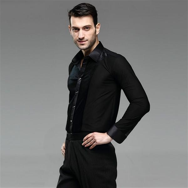 Men Ballroom Smooth Shirt-Balck-2