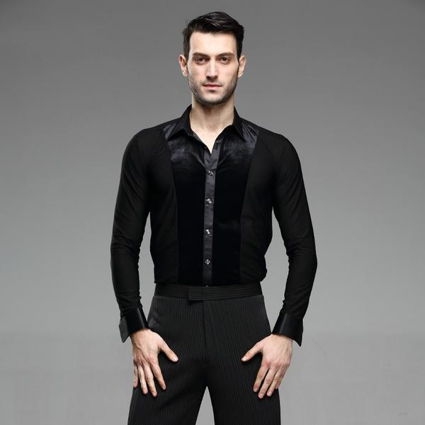 Men Ballroom Smooth Shirt-Balck-3