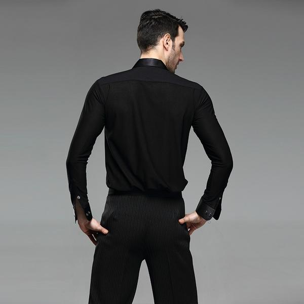 Men Ballroom Smooth Shirt-Balck-4