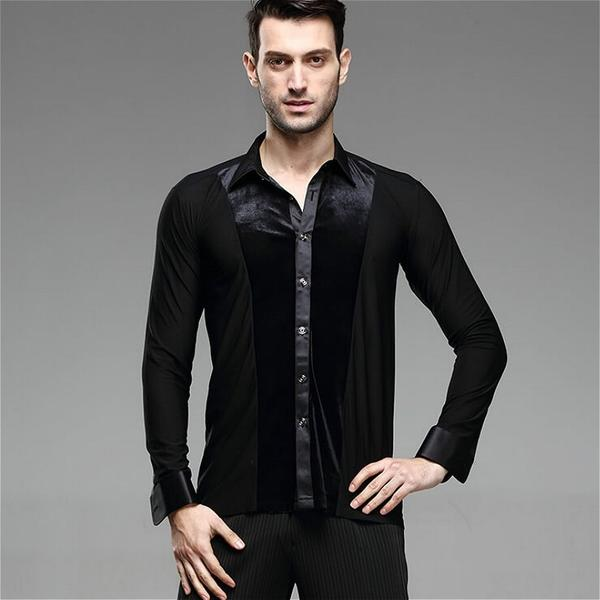 Men Ballroom Smooth Shirt-Balck-5