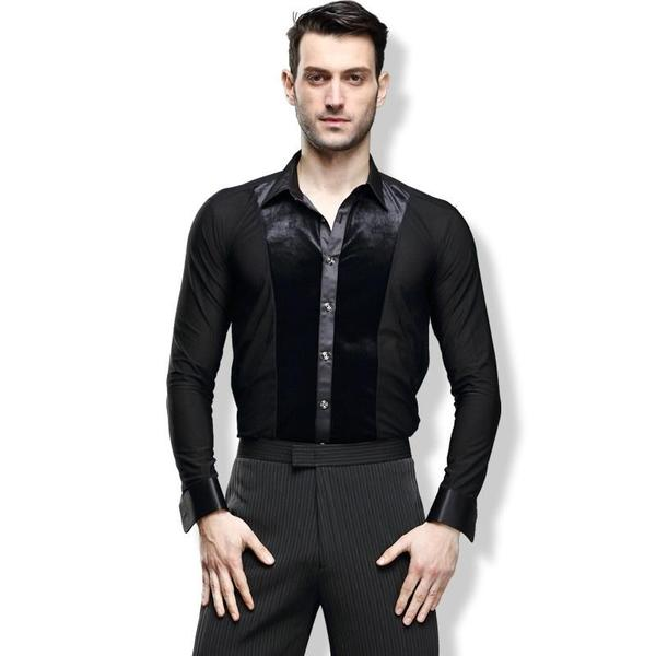 Men Ballroom Smooth Shirt-Balck-6
