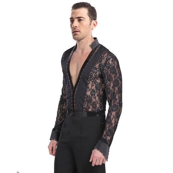 V Neck Sizzling Latin Shirt with Lace-Black
