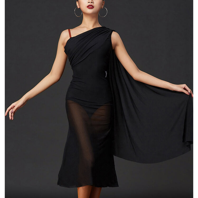 One Shoulder Latin Dress with Mesh