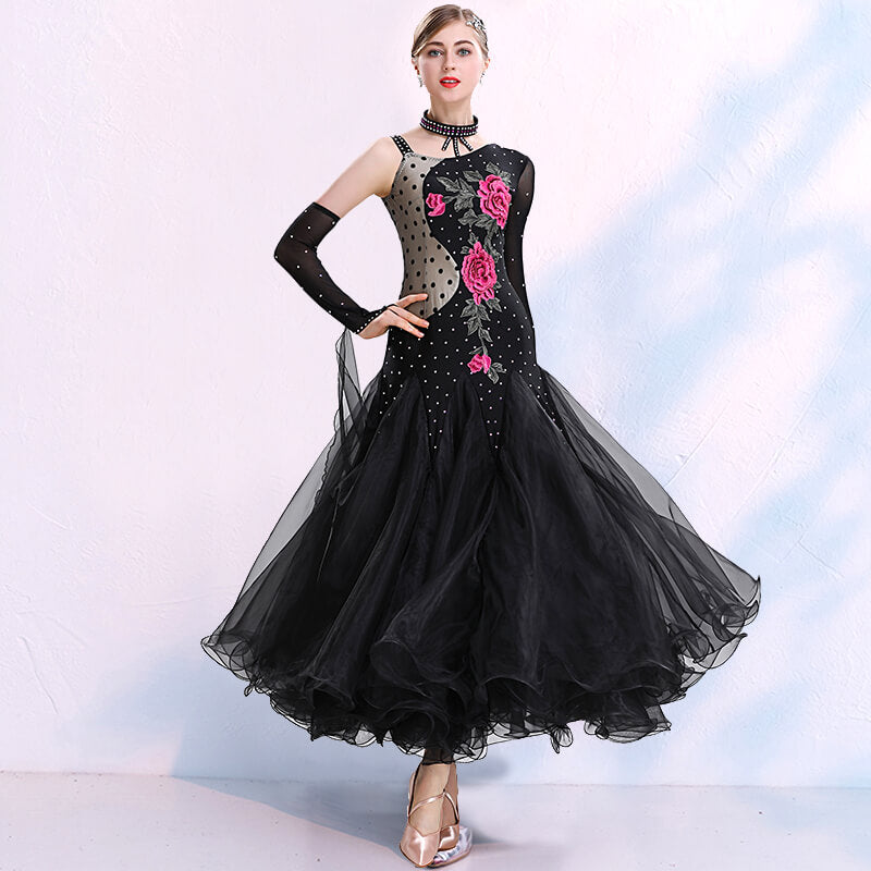 One Shoulder Long Ballroom Dress