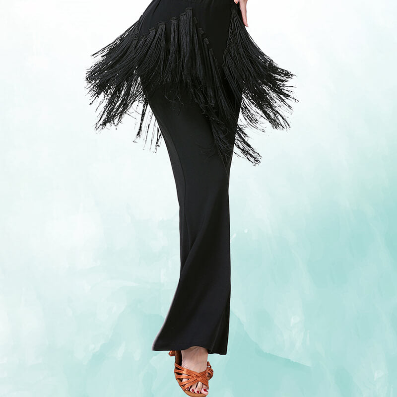 Patchwork High Rise Latin/Ballroom Pants with Tassels