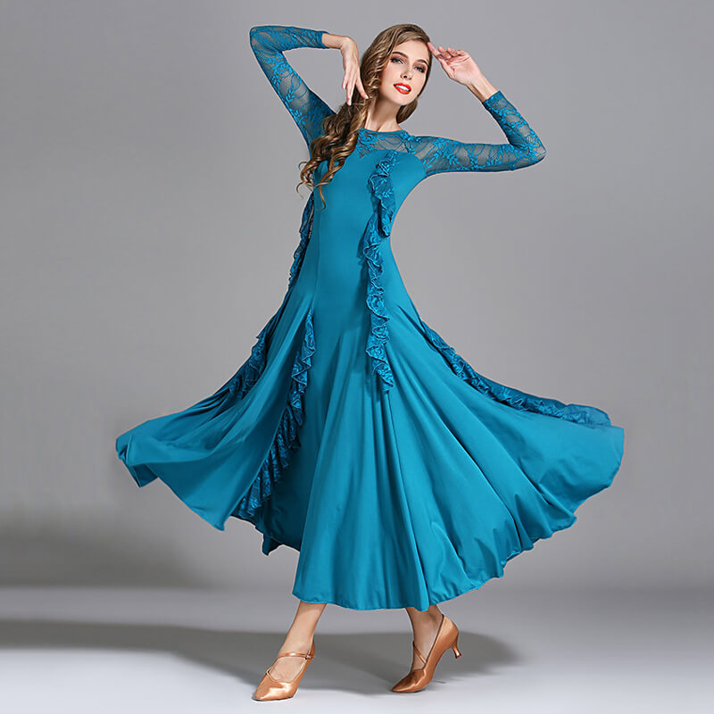 Peacock Blue Ballroom Dress