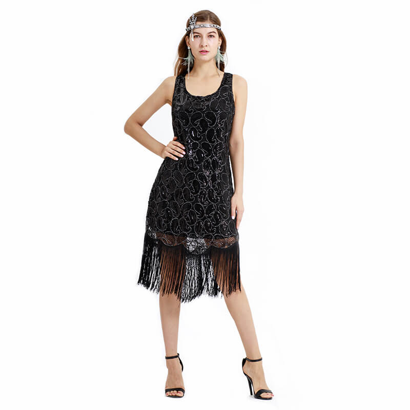 Pencil Calf-Length 1920s Dress with Tassels