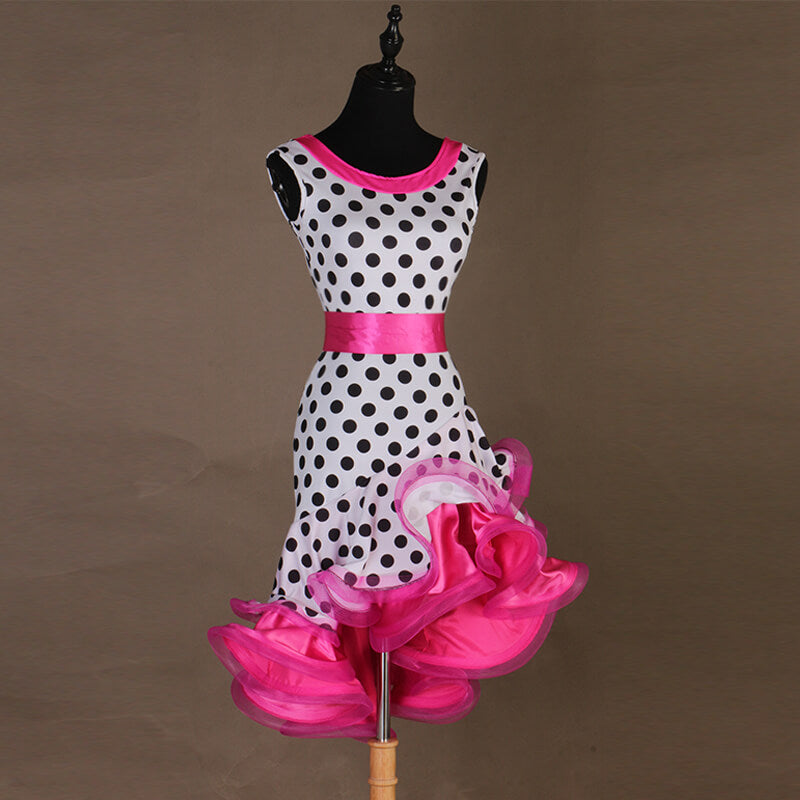 Polka Dot Asymmetric Sleeveless Dress
